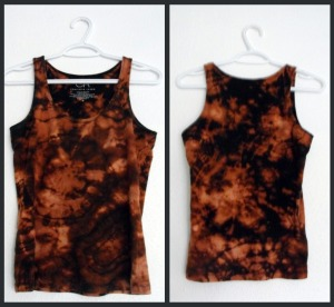 front and back view of a bleach dyed tank top